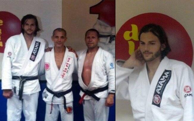 No Rio, Ashton Kutcher treinou jiu-jítsu com o mestre Ricardo de la Riva (ao centro) e seu segurança americano