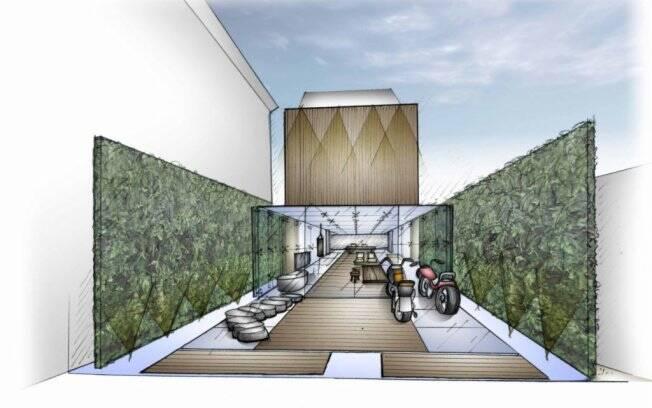 Fernanda Marques apostou na contemporaneidade para compor o Lounge Garagem. Logo na entrada, jardins verticais abrem o espaço construído com paredes e teto de vidro