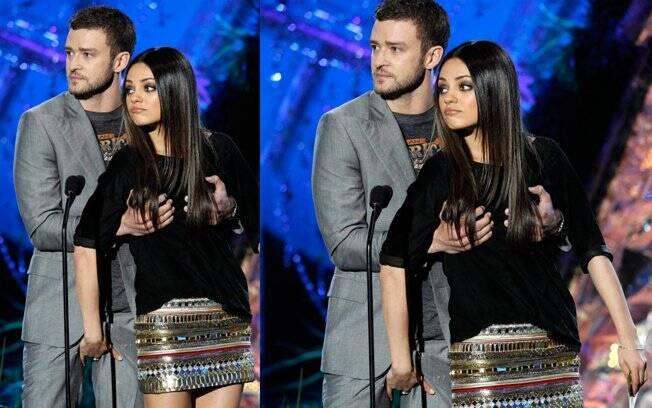 Mila Kunis agarra a calça de Justin Timberlake: só amigos