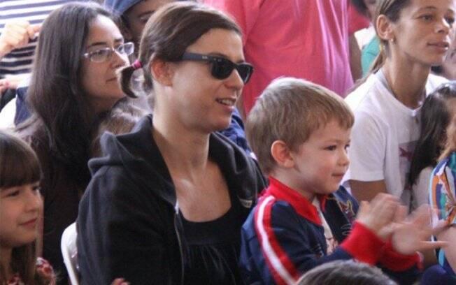 Maria Paula com os filhos, Maria Luiza e Felipe