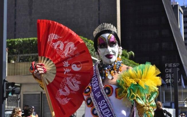 Drag queen Isabelita dos Patins durante a Parada Gay São Paulo, em junho de 2010