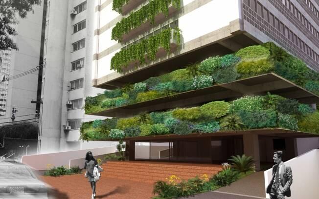 A fachada do edifício recebeu um jardim vertical que percorre todas as janelas. Projeto do escritório Bracher, Filisetti e Somlo