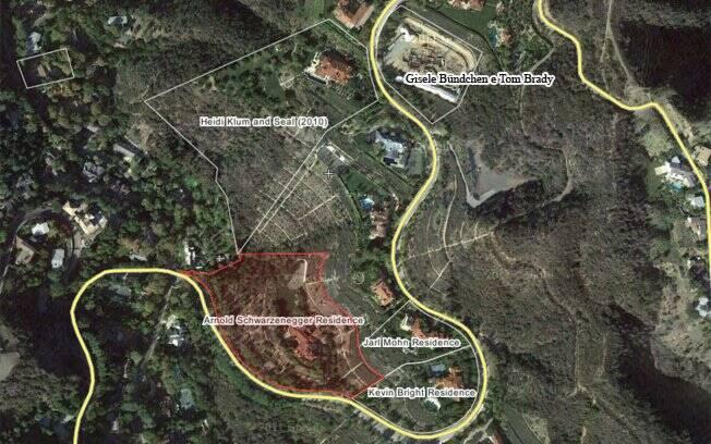 Mapa dos morros de Brentwood: Schwarzenegger é vizinho de Bündchen e Heidi Klum