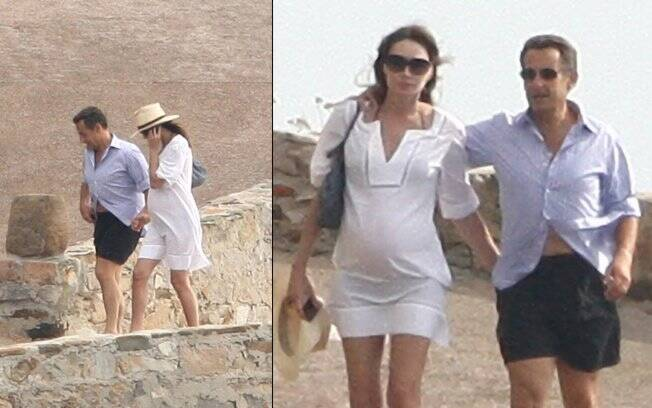 Carla Bruni e Nicolas Sarkozy no sul da França
