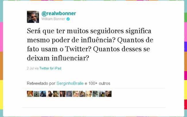 William Bonner faz seguidores de cobaia no Twitter