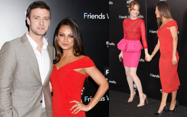 Justin Timberlake, Mila Kunes e Emma Stone na premiere do longa