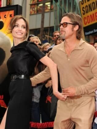 Brad Pitt e Angelina Jolie na première de