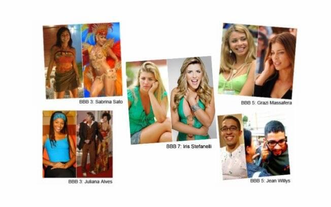 Sabrina Sato: apresentadora e sucesso nos Carnavais; Grazi Massafera e Juliana Alves são atrizes da Globo; Iris: repórter de celebridades; Jean Wyllis: político