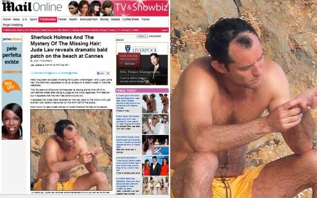 Jude Law é flagrado com careca em evidência
