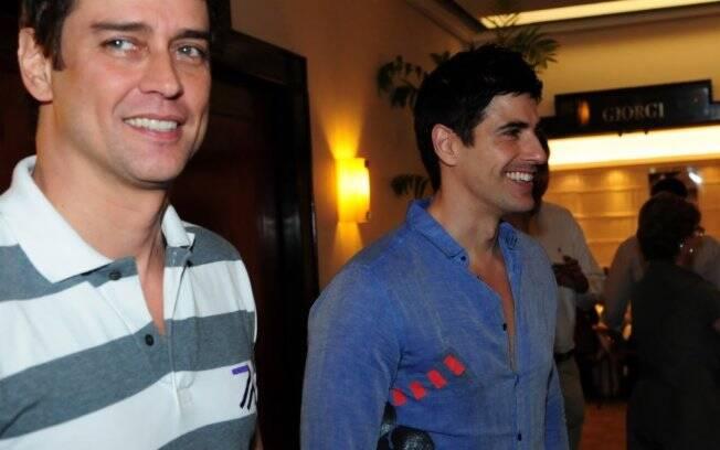 Marcello Antony e Reynaldo Gianecchini participam de evento da Goodyear, em São Paulo