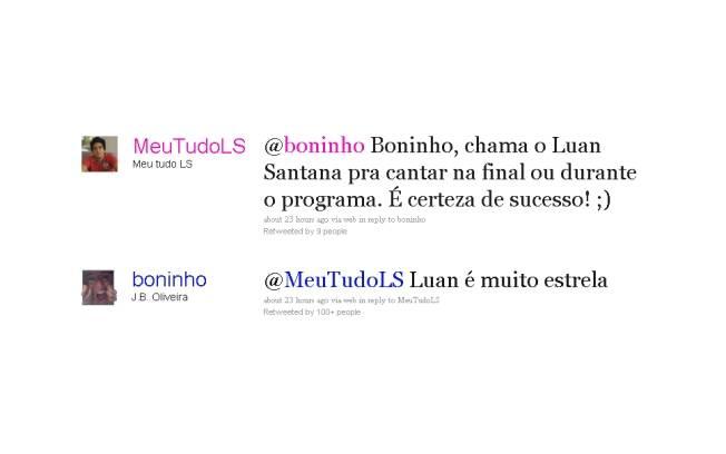 Boninho critica Luan Santana no Twitter