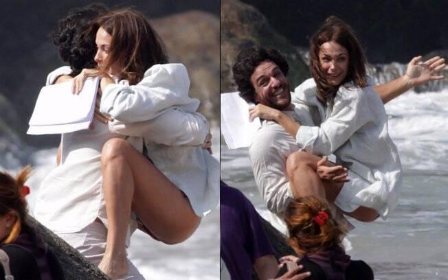 Carolina Ferraz e Rodrigo Lombardi farão muitas cenas de sexo e nudez
