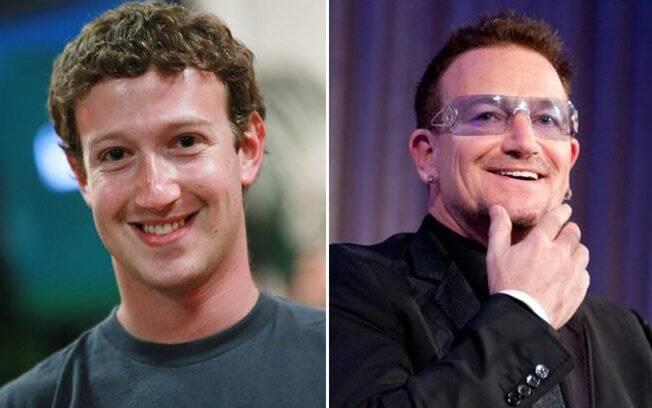 Mark Zuckerberg e Bono Vox: fundo de investimento do cantor lucra com o Facebook
