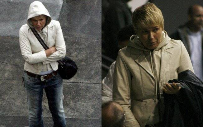 Xuxa chegou ao treino de Sasha com um agasalho de capuz na cabeça