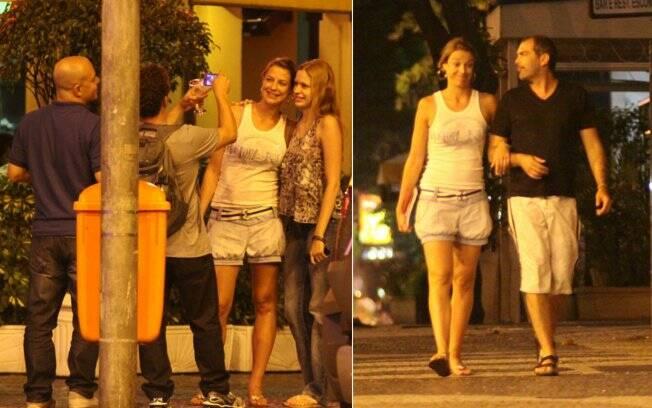 Luana deixou o local a pé, conversando com um de seus amigos