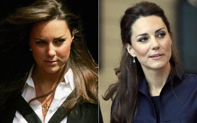 Kate Middleton em 2005, quando se formou em História da Arte na faculdade St. Andrews, e na última segunda-feira (11): perda de peso notável