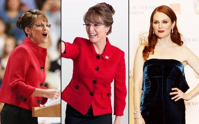 Sarah Palin, na época das eleições em 2008, e Julianne Moore: pronta para o papel e fora da personagem
