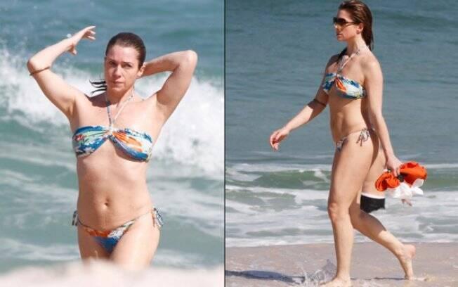Após caminhada, Letícia Spiller mergulha no mar carioca