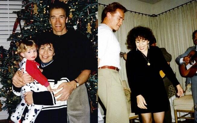 Fotos antigas de Arnold Schwarzenegger ao lado de Mildred Baena na época do Natal e com o possível filho do casal