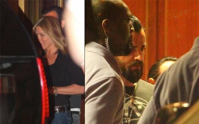 Jennifer e Justin ao deixarem o restaurante Sunset Tower: os dois teriam se apaixonado nos bastidores de um filme