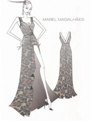 Croqui do vestido de Luiza Brunet: estampa de oncinha