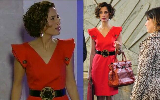 O vestido da Carol (Camila Pitanga) é do estilista André Lima