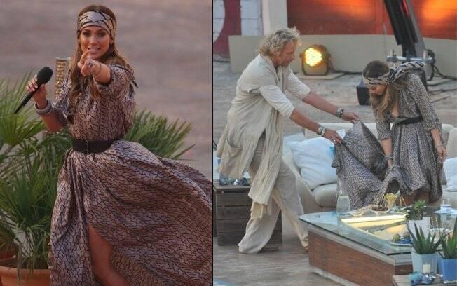 Jennifer Lopez chegando para participar do programa