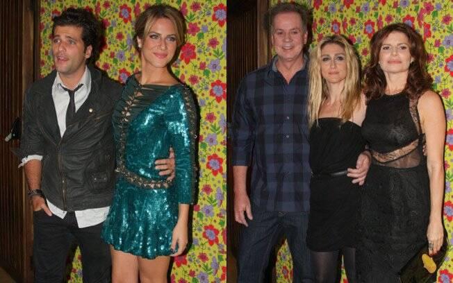 O casal Bruno Gagliasso e Giovanna Ewbank, e os atores Débora Bloch e Luiz Fernando com a diretora Amora Mautner