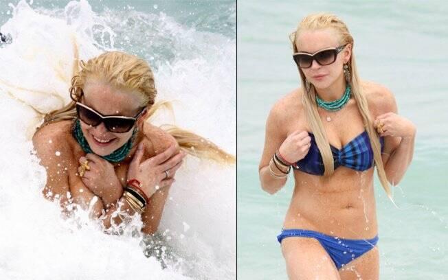 Lindsay Lohan na praia, em Miami