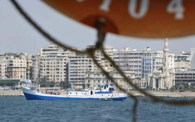 O navio de pesquisa Princess Duda, ancorado no porto de Alexandria, no Egito. Foto: © AP