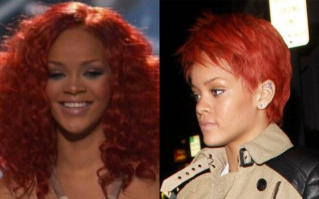 Rihanna durante o ¿American Idol¿ e antes, com os fios bem mais curtos