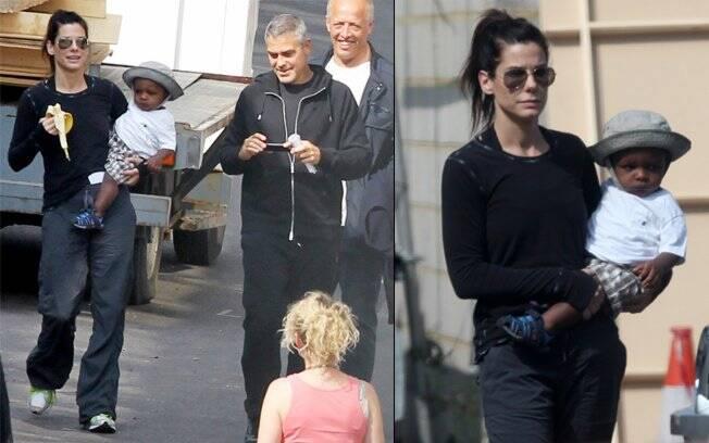 Sandra, Louis e George caminham pelo set