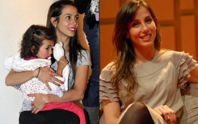 Tania Khalill com a filha Isabela no início de 2010 e em setembro, já no terceiro mês de gestação de Laura