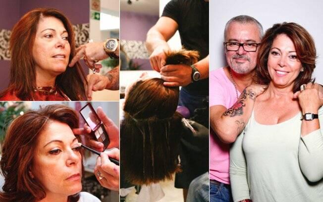 Depois de fazer o novo corte, coloração e maquiagem, Mauro Freire posa ao lado de Bette