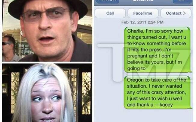 Reprodução do site TMZ, que mostra a suposta mensagem enviada por Kasey Jordan a Charlie Sheen