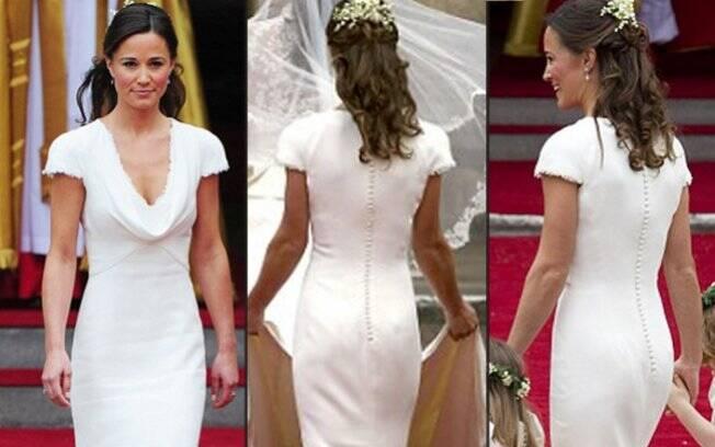 Pippa Middleton veste Alexander McQueen no grande dia da irmã: derrière elogiado nas redes sociais