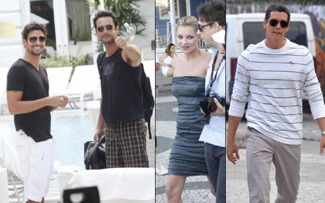 Cauã Reymond, Rodrigo Santoro e Márcio Garcia com Kate Moss