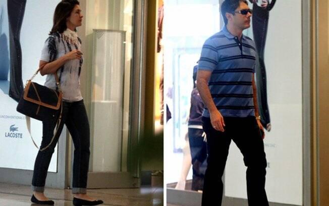 Fátima Bernardes e William Bonner circulam em shopping carioca
