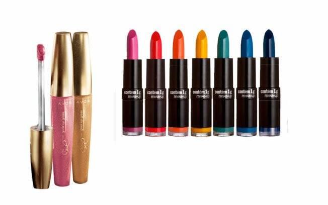 Novos batons coloridos da Contém 1g e o gloss brilhante da Avon são apostas para a temporada