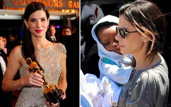 Sandra Bullock ganhando o Oscar de melhor atriz, e com seu filho Louis
