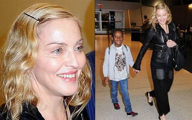 Madonna aparece sem maquiagem com o filho David
