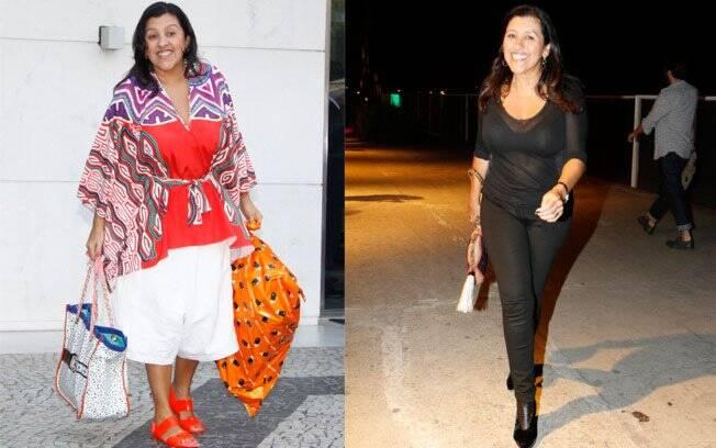Antes e depois: Regina Casé passeando pelas ruas do Leblon em 2010, e nesta semana durante o Fashion Rio
