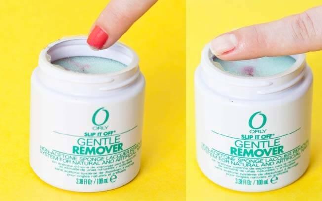 Removedor com sistema de esponja: é só colocar o dedo no potinho para tirar o esmalte