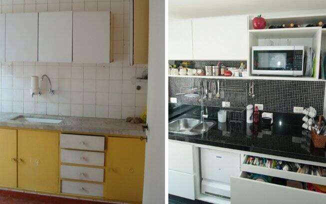 A bancada de granito vai de uma ponta a outra da cozinha e abriga fogão e máquina de lavar louças