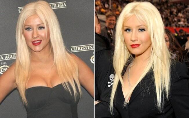 A cantora Christina Aguilera com a mesma expressão em dois momentos: SPFW, em Sao Paulo, e na final do Super Bowl, nos EUA