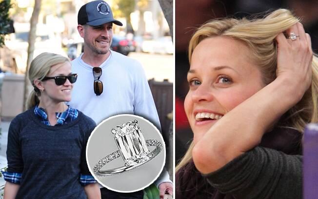 Reese e o noivo, Jim Toth: detalhe para o anel de noivado, avaliado em R$2.6 milhões