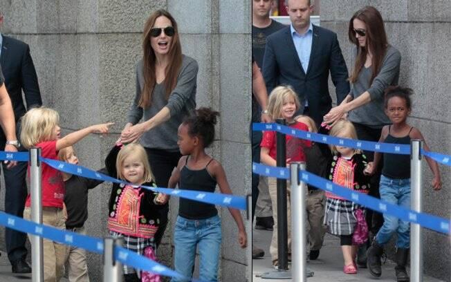 Angelina Jolie estava sem o marido Brad Pitt e os filhos Maddox e Pax