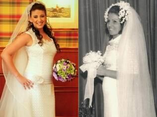 Angelica e a mãe em seus casamentos: um vestido em dois momentos