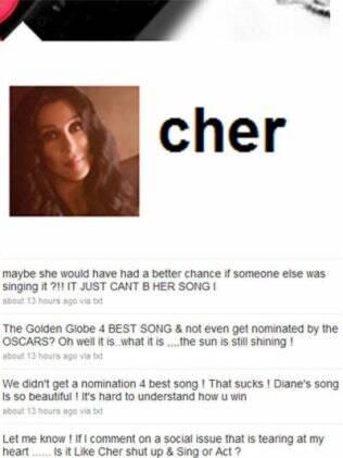 Cher desabafando no Twitter