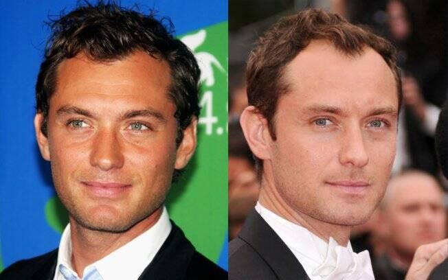 Jude Law em 2007, quando tinha mais cabelo, e recentemente em Cannes